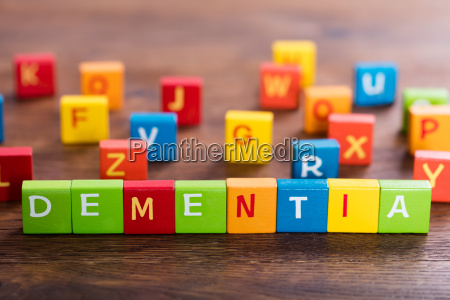 dementia text on cubes