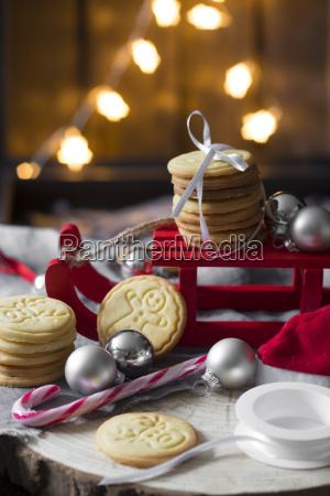 christmas decoration with miniature sledge and