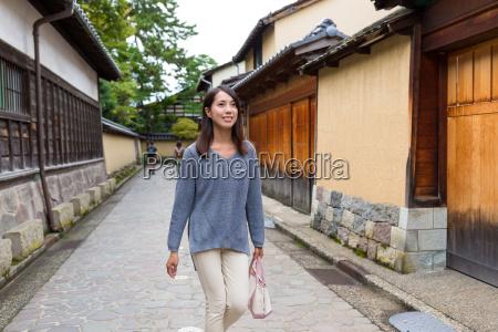 woman walking in kanazawa city