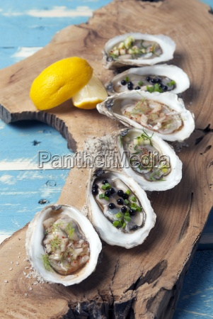 assorted oysters on a plank of