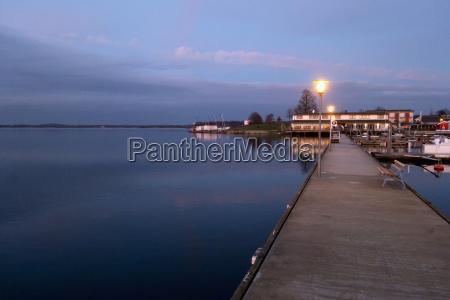 germany saxony cospuden lake at sunset