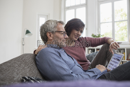 mature couple at home on the