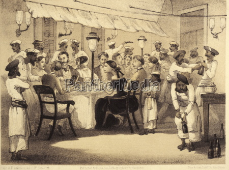 britische kolonien mit abendessenillustration aus dem
