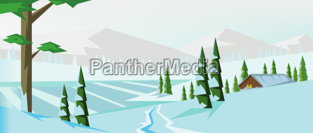 digital vector abstract background with winter