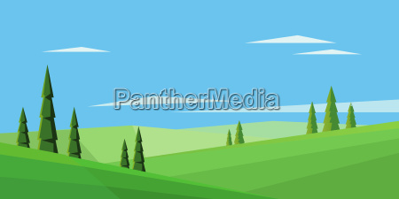 digital vector abstract background with pines