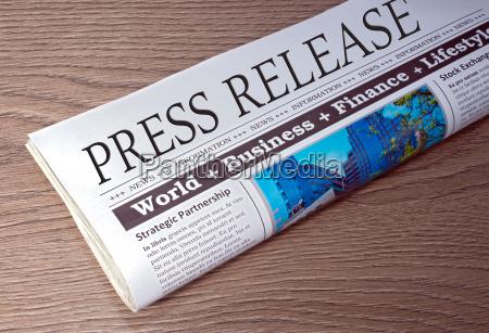 press release pressemitteilung zeitung