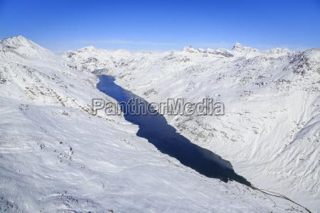 aerial view of the alpine lago