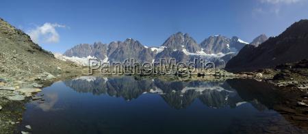 panorama of laghetto forbici and bernina