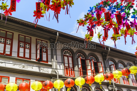 restored and colourfully painted old shophouses