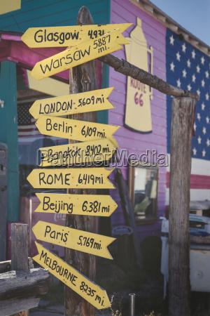 usa arizona seligman signpost with capital