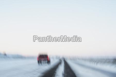 usa new mexico car on snowy