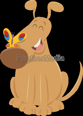 dog with butterfly cartoon