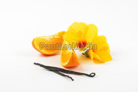 hibiscus orange and vanilla pods