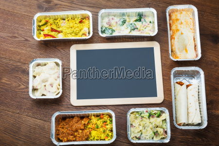 blank slate with take away dishes