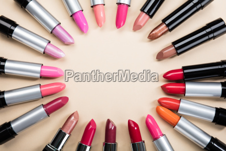 various colorful lipstick arranged in a