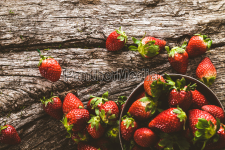 strawberries on wood