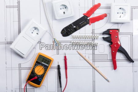 electrical instrument with tools on a