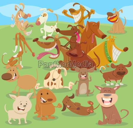 cartoon happy dogs group