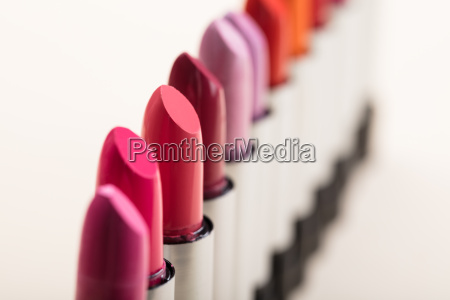 fashionable lipsticks in a row