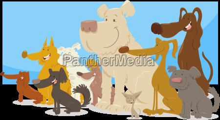 happy sitting dogs group cartoon