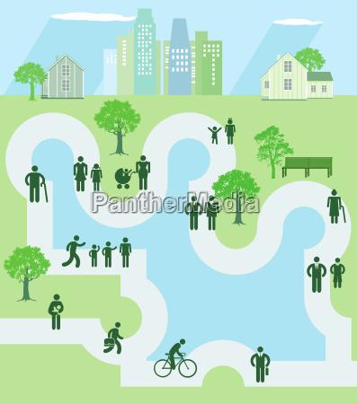menschen in einer parkanlage icon illustration