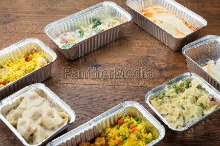 take away food in foil containers