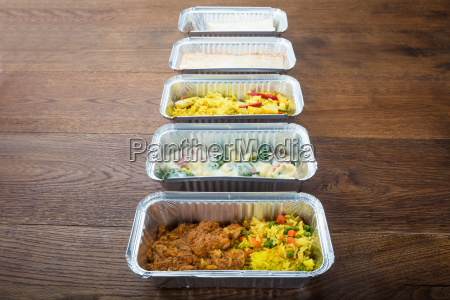 row of take away dishes on