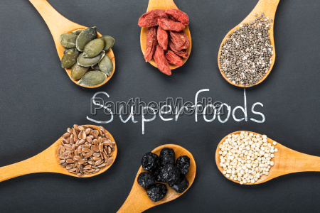 superfoods text with ingredients in a