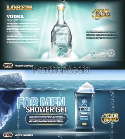 digital vector aqua silver vodka bottle