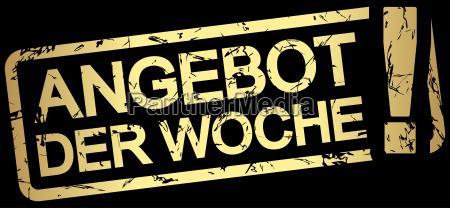 gold stamp with text angebot der