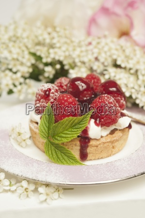 a fresh rasberry tart with a