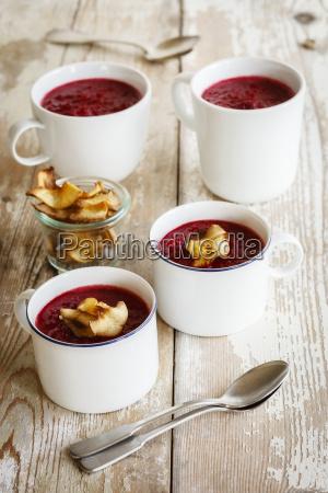 beetroot apple soup garnished with vegetable