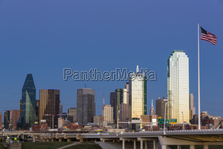 usa texas dallas skyline at blue