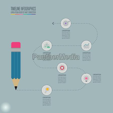 bildung infografik vorlage 5 schritt option