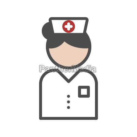 classic nurse icon with white uniform