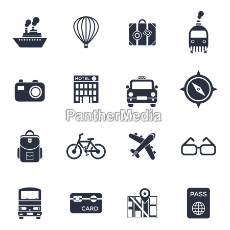 digital vector black travel icons set