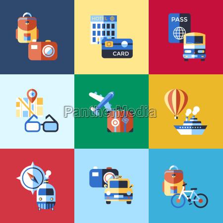 digital vektor rot blau reise icons