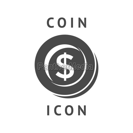 digital vector black business coin icon