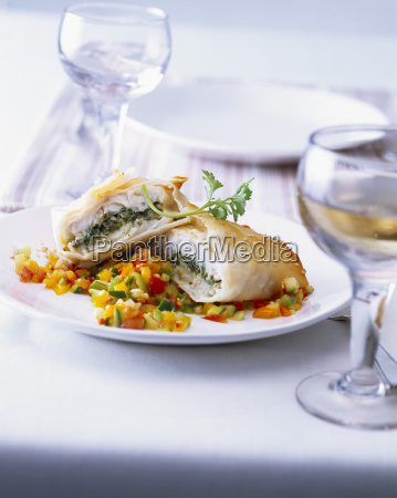fish wrapped in filo dough with