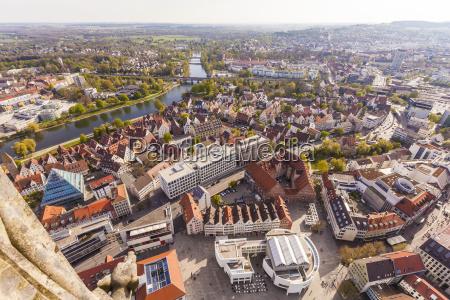 germany ulm cityscape seen from ulmer