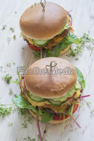 two veggie burgers with sweet potato