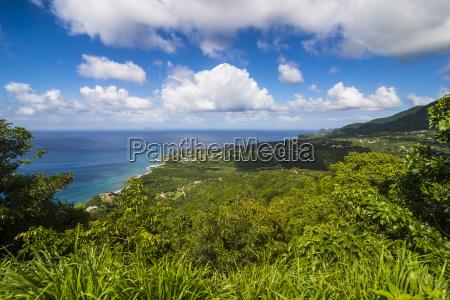 view over the coastline of montserrat
