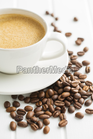 hot coffee cappuccino and coffee beans