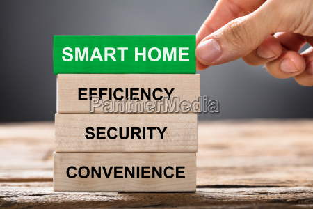 hand building smart home concept with