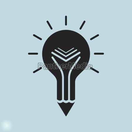 kreative bildungs ikone gluehbirne bleistift und