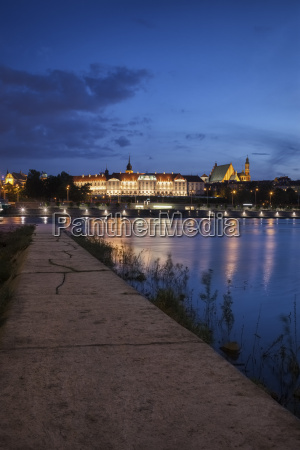 poland warsaw old town skyline with
